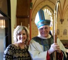 Jamie with Bishop Slattery.